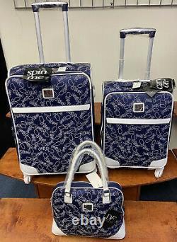 Diane Von Furstenberg Navy Couleur Blanche Sur Le Go 3 Pc Set 24' & 20 Bagages 800 $