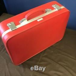 Earhart Rouge Valise Amelia Ensemble De 2 1965 MID Century 27 Vtg Bagages Et 21 + Tag
