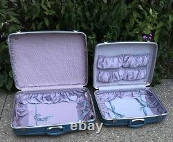 Ensemble De 2 Pièces Vintage Amcrest Blue Bagage Hard Shell Valises Doublées De Train Guc