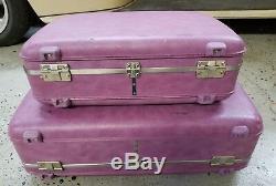 Ensemble De 2 Valises Vintage Purple American Tourister Hardside Valise Pink Lining