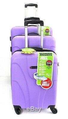 Ensemble De 3 Valises Léger 4 Roues À Roulette Spinner Trolley Set De Bagages De Voyage