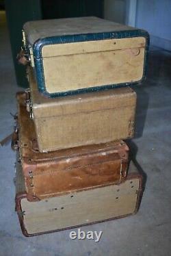 Ensemble De 4 Valises Divers Vintage MI Siècle Voyage Bagages Décoration