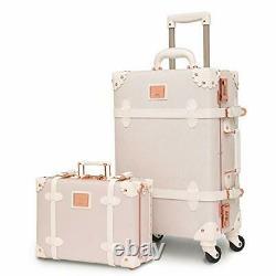 Ensemble De Bagages De Luxe Vintage Trunk Pour Femmes 2 Pièces Mignon Rétro 20+12 Rose Blanc