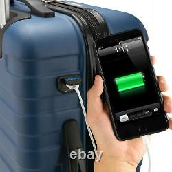 Ensemble De Bagages Spinner 3 Pièces Traveler Bondi Des États-unis Avec Bagage À Main Usb Smart