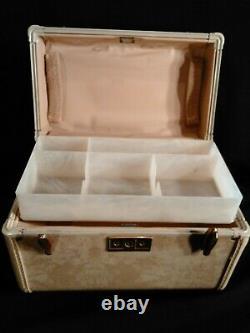 Ensemble De Bagages Vtg Midcentury Samsonite Cream/ivory Marble. Affaire Train & Cas Rond