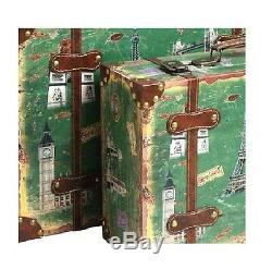 Ensemble Décoratif Valise Trunk 2 Vintage Antique Style Rétro Décoration Voyage Bagages