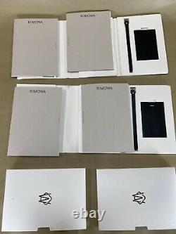 Étiquettes De Bagage En Cuir Rimowa Set De 2 Étiquettes De Bagage Noir Avec Carnets Et Stickers