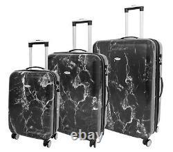 Four Wheels Hard Shell Marble Print Suitcase Tsa Lock Travel Luggage