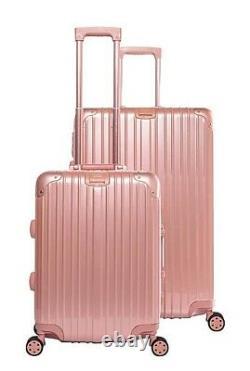 Gabbiano Aurora 2 Piece Aluminum Frame Hardside Spinner Luggage Set Rose Gold