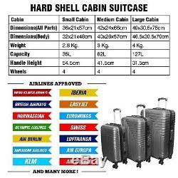 Grande Valise Léger Avec 4 Roues Set Hard Shell Cabin Sac Voyage Bagages