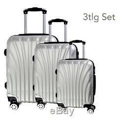 Hartschalen Koffer Set 3tlg Für Urlaub, Tsa Zahlenschloss 3tlg Rk2 Silber Set