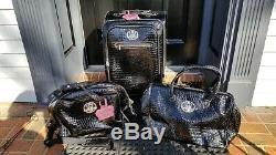 Kathy Van Zeeland 3 Pc Set Croco Noir Pvc Valise Spinner Valises Bagages