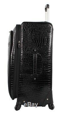 Kathy Van Zeeland Black Croco Luggage Set Pvc Valise Extensible À Roulettes