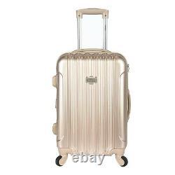 Kensie 3-piece Metallic Vertical Rolling Luggage Set Tsa Spinner Pale Gold