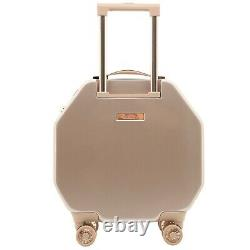 Kensie Women's 2 Piece Shiny Octagon Luggage Set, Rose Gold Tsa