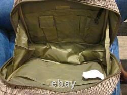 LL Bean Vintage Traveler Tweed & Leather Carpet & Tote Bag Set Double Poignées