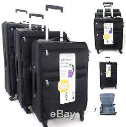 Léger 4 Wheel Set De 3 Valises Valise Trolley Bagages Sac Voyage