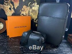 Louis Vuitton Sac En Cuir Taïga Rolling Luggage Valise Voyage Set 22 Carry On