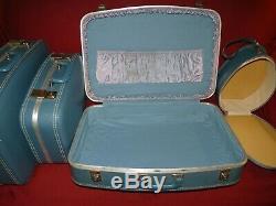 MCM Vintage 4 Pc Valise Luggage Set Blue Vinyl Dur Empilement Latéral Nesting