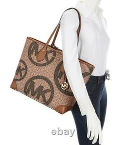 Michael Kors Eva Bagage Brown Grand Logo Graphique Deux-tonnes Sac De Valise + Wallet Set