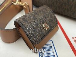 Michael Kors Jet S Crossbody Shoulder Bag With Strap Attachments Brown Luggage