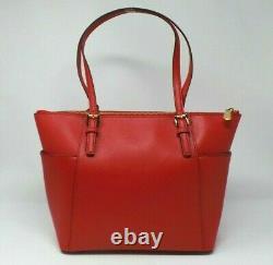 Michael Kors Jet Set Bright Red Large Bagage Pebbled En Cuir Tote Bag Rrp £142