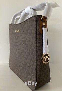 Michael Kors Jet Set Brown Voyage Bagages Pvc Mk Logo Grand Messenger Bag