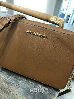 Michael Kors Jet Set Lg Voyage Ew Sac Bandoulière En Cuir Saffiano Bagages 248 $