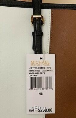 Michael Kors Jet Set Medium Centre Voyage À Rayures Tout En Cuir Blanc Dans Les Bagages