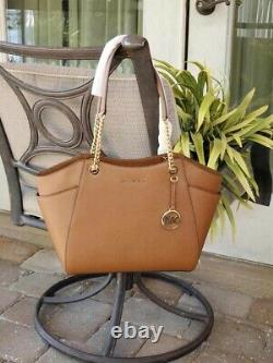 Michael Kors Jet Set Travel Large Chain Shoulder Tote Luggage Brown Leather 378 $