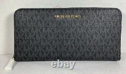 Michael Kors Jet Set Travel Pvc Mk Signature Continental Large Wallet, Sac À Main