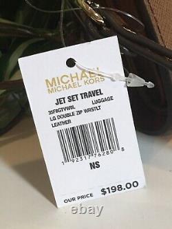 Michael Kors Jet Set Voyage Double Zip Wallet Phone Case Wristlet En Cuir Brun