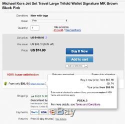 Michael Kors Jet Set Voyage Grand Trifold Wallet Signature Mk Marron Noir Rose