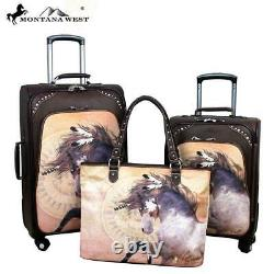 Montana Ouest Cheval Art 3-pc Valise À Roulettes Set Laurie Prindle Coffee Collection