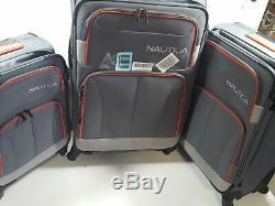 Nautica 3 Piece Spinner Luggage Set, Gris Anthracite / Orange