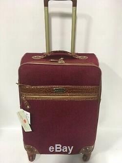 New Samantha Brown Tweed Bourgogne Camel Spinner Luggage Set Extensible
