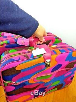 Nos Vintage K Gimbel Japon Retro Mod Valise Bagages Bagage À Main 5pc Set