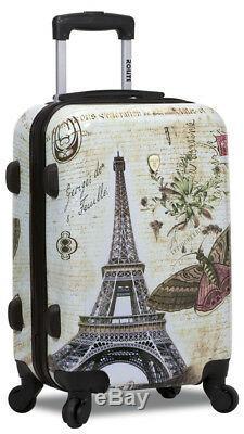 Nouveau Dejuno 3 Pcs Poids Léger Hard Shell Spinner Upright Luggage Set Paris