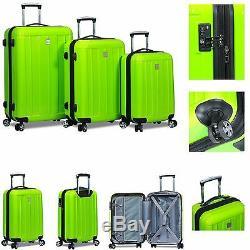 Nouveau Dejuno 3 Pièces En Polycarbonate Hardshell Spinner Valises Luggage Set -lime