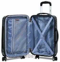 Nouveau Dejuno 3 Pièces En Polycarbonate Hardshell Spinner Valises Set-bagages Noir