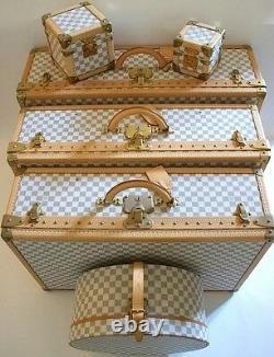 Nouveau Louis Vuitton Azur Alzer Beauty Case Hat Trunk Set Limited Rare