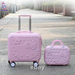 Nouvelles Femmes Hello Kitty Roller Trolley Bagage Toilette Cosmétique Boîte Boîte Sac Ensemble