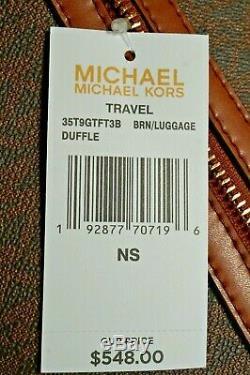 Nwt Michael Kors Jet Set Travel Sac De Sport En Molleton / Pampilles Mk Sig Pvc / Cuir