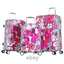 Olympia Blossom 3 Pièce Extensible Polycarbonate Hardcase Luggage Set-fuchsia Co