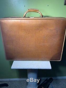 Or Vtg Hartmann Cuir Valise Bagages Brown Grande Clé Set Toiletry
