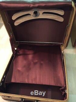 Rare 50 Est Vintage Set Complet Bagages Amelia Earhart En Cuir Marron Condition Exc