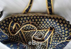Rare Victorias Secret Rose Matelassée Jet Set Varsity Carry On Duffel Bleu Jaune