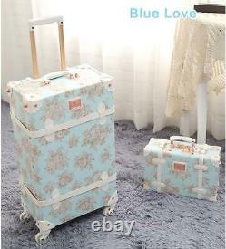 Retro Vintage Trolley Luggage Girl Femmes 202224 Inch Case Travel Set Spinner