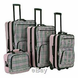 Rockland Bagage 4 Piece Luggage Set, Pink Tartan, Taille