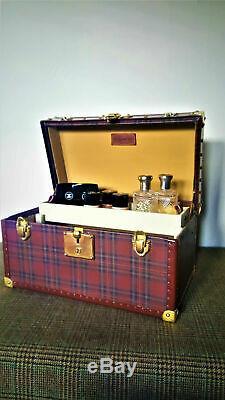 Sac Voyage Ralph Lauren Set Sac Vanity Tartan En Laiton D'or En Cuir Boite Flacons